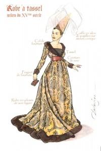 Femme portant une robe à tassel avec un hennin