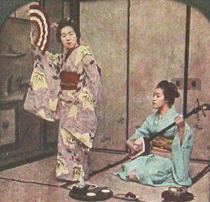 GEISHA shamizen et GEISHA qui danse eventail