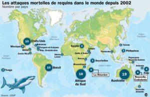 Nombres d'attaques de requins dans le monde